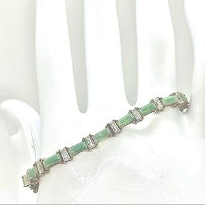 Authentic Jade with Simulated Diamond Spacers